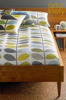 Orla Kiely Scribble Stem Seagrass And Duck Egg Duvet Cover