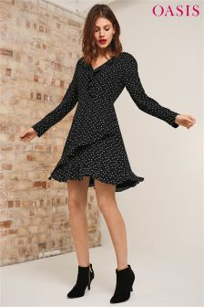 Oasis Black Spot Frill Long Sleeve Tea Dress