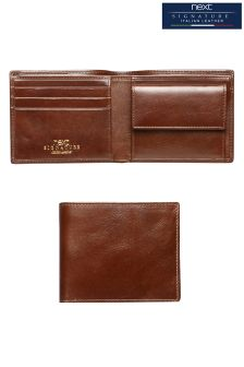 Brown Signature Leather Two Fold Wallet
