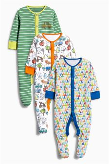 Three Pack Scribble All Over Print Sleepsuits (0mths-2yrs)