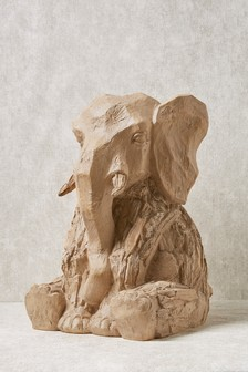 XL Wood Effect Elephant Sculpture