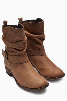 Tan Leather Buckle Sludge Ankle Boots
