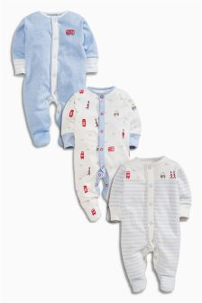 Three Pack Pale Blue London Print Sleepsuits (0mths-2yrs)