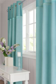 Plush Embroidered Band Eyelet Curtains