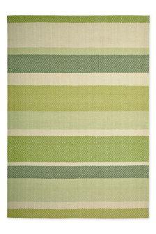 Wool Green Bold Stripe Rug