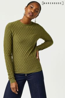 Warehouse Khaki Scallop Stitch Jumper