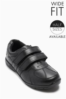 Black Double Strap Shoes (Older Boys)
