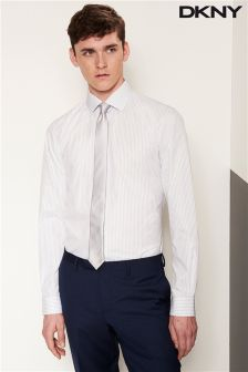 White/Grey DKNY Stripe Slim Fit Formal Shirt
