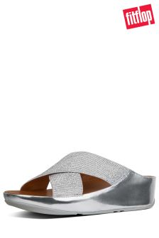 FitFlop™ Metallic Silver Crystall™ Slide Sandal