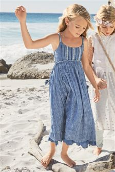 Blue Stripe Maxi Dress (3-16yrs)