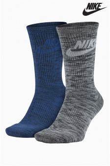 Nike Blue/Grey Advance Crew Sock Two Pack