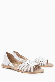Leather Weave Full Sandals