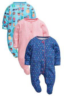 Three Pack Bright Geo Sleepsuits (0mths-2yrs)