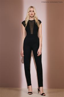 French Connection Black Marie Chiffon Jumpsuit