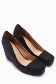 Black Square Toe High Wedges