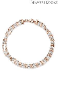 Beaverbrooks Silver Rose Gold Plated Three Row Bracelet