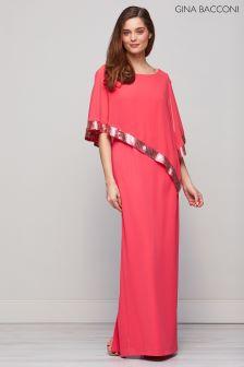Gina Bacconi Pink Tiffany Sequin Trim Cape Maxi Dress