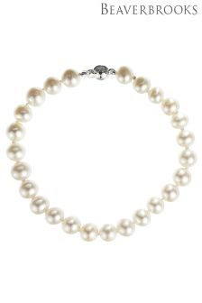 Beaverbrooks 9ct White Gold Fresh Water Cultured Pearl Bracelet