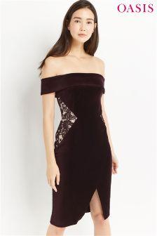 Oasis Purple Velvet Bardot Pencil Dress