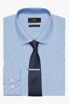Mini Check Slim Fit Shirt, Tie And Tie Clip Set