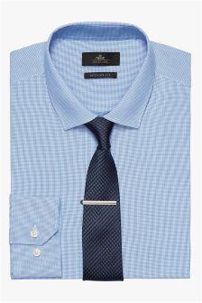 Mini Check Shirt, Tie And Tie Clip Set