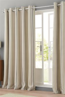 Textured Woven Stripe Eyelet Curtains