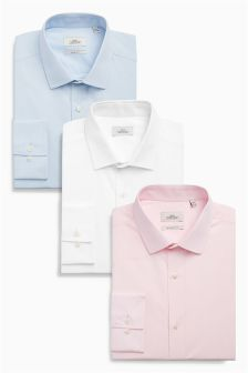 White, Blue and Pink Textured Shirts Three Pack