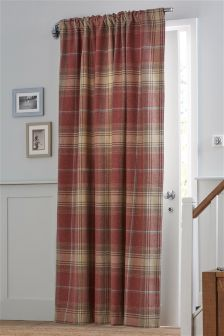 Red Woven Check Stirling Slot Top Door Curtain