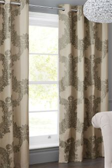 Cotton Rich Damask Print Eyelet Curtains