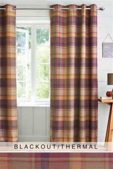 Kingsley Woven Check Eyelet Blackout Curtains