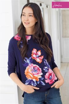 Navy Joules Kitty Floral Knit Jumper