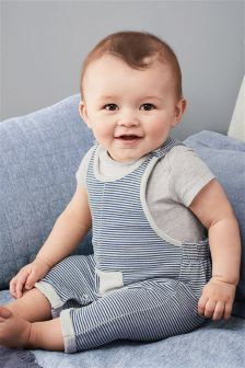 Stripe Jersey Dungarees And Bodysuit (0mths-2yrs)