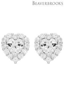 Beaverbrooks Silver Cubic Zirconia Heart Stud Earrings