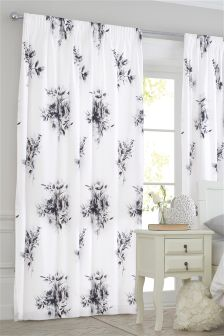Cotton Rich Shabby Rose Pencil Pleat Curtains