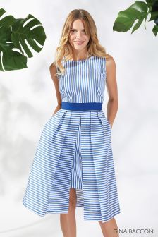 Gina Bacconi Blue Elena Striped Dress
