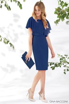 Gina Bacconi Navy Flora Crepe And Chiffon Dress