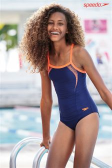 Navy Speedo® Thin Strap Swimsuit