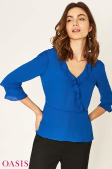Oasis Blue Frilly Wrap Tea Top