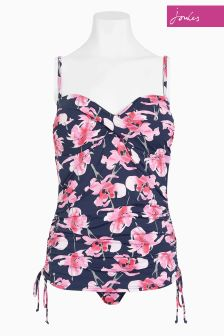 Joules Navy Orchid Drawstring Side Swimsuit