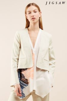 Jigsaw Cream Linen Flow Jacket