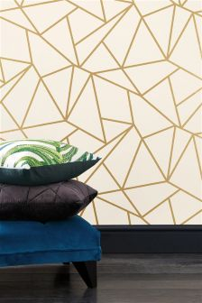 Paste The Wall Gold Detail Geometric Wallpaper