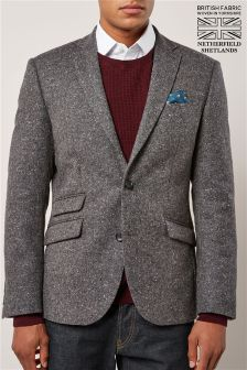 Grey Donegal British Wool Slim Fit: Jacket