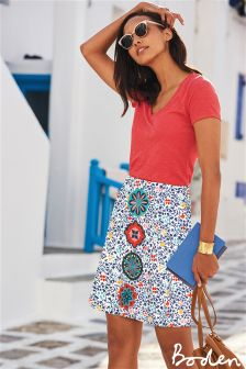 Boden Multi Embroidered A-Line Skirt
