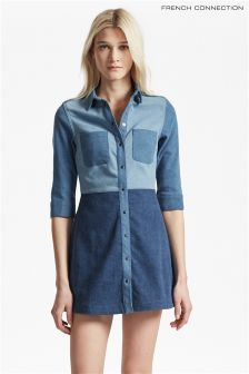 French Connection Blue Patchwork Flared Denim Shirt Dress