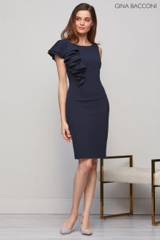 Gina Bacconi Navy Rita Asymmetric Frill Dress