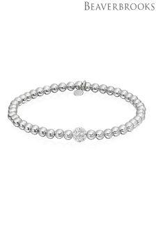 Beaverbrooks Silver Cubic Zirconia Bead Bracelet