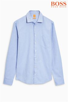 Boss Orange Blue Long Sleeve Oxford Shirt