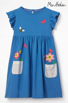 Boden Blue Appliqué Pocket Dress