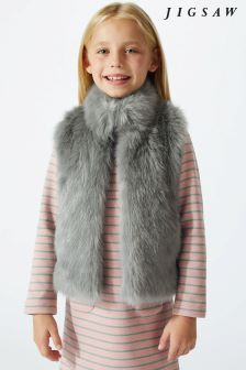 Jigsaw Grey Fluffy Faux Fur Gilet