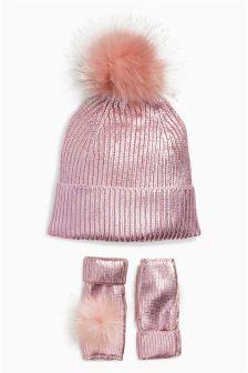 Pom Hat And Hand Warmer Set (Older Girls)